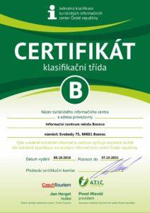 Certifikát klasifikační třída B